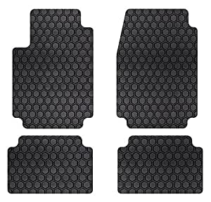 Intro-Tech Automotive Complete Set (2 Front, 2 Back) , Black : Intro-Tech Hexomat Front and Second Row Custom Floor Mats for Select BMW 3 Series Models - Rubber-like Compound (Black)