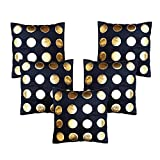 Dream Weaverz Beautiful Cushion Covers Set of 5 - Premium Quality Velvet and Leather Cushion Cases - Black colored Cushion Covers