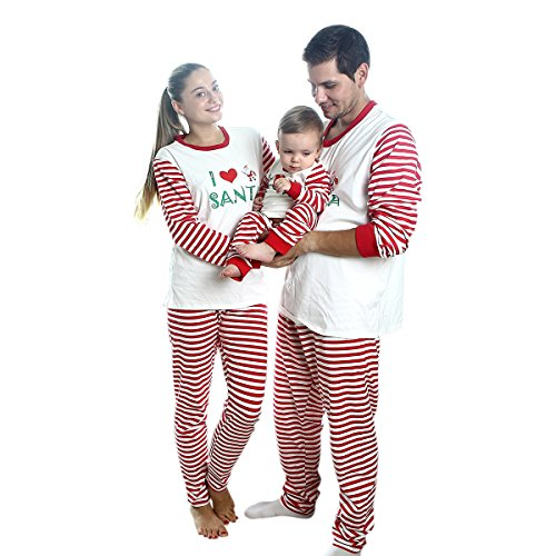 Yalatan I love Christmas Pajamas Sets For Daddy Mama Baby Kids Nachtwäsche gestreift passender Familie