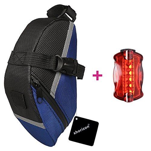 xhorizon Fahrradpack tasche Fahrradsitz tasche Fahrradsitz pack + Fahrradhecklicht Blau