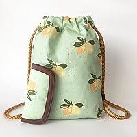Zaino donna-Zainetto-Borsa in tela/disegno e modello esclusivo fatte a mano da El Taller de Mis Nubes/Sacchetti donna limoni cotone organico verde menta/regalo donna-regali per lei-regali mamma