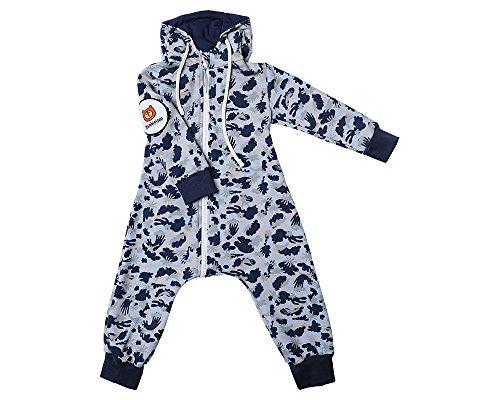 Bambinizon Baby Sweat Overall/Wagenanzug Camouflage, Innovation - Windeln WECHSELN einfach gemacht! 4 Farben: rosa, blau, grün, braun. Mädchen Jungen Kinder Zip up Anzug, mit Kapuze. (74, hellblau)