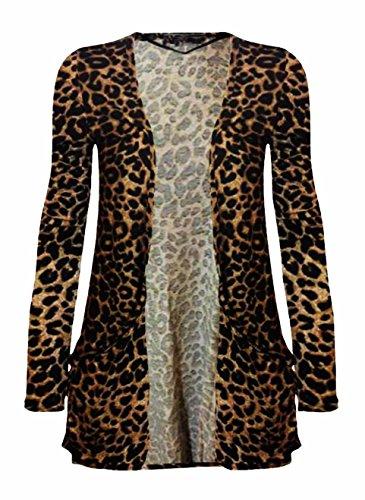 Beaulook - Gilet - Femme Motif léopard Marron