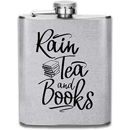Regen Tee Und Bücher Schwarz Text Drucken Flachmann Tasche Flasche Flagon Portable Edelstahl Flagon 7OZ