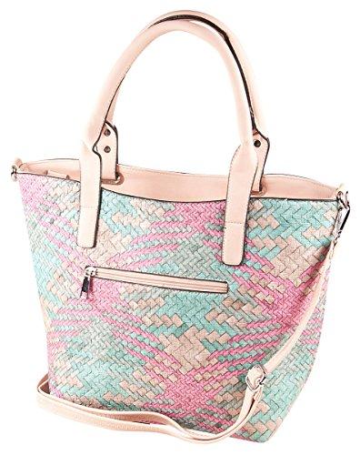 LIBERTA Flecht Shopper Tasche LI1067 Damen Handtasche Flechttasche 36x27x12 cm (BxHxT), Farbe:Sea Schwarz