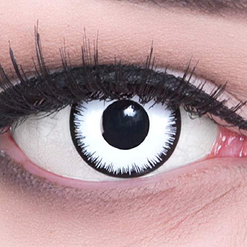 Fun Kontaktlinsen 1 Paar Farbige Weiße Lunatic Kontaktlinsen Mit Stärke -2,00 Dioptrien und Behälter. Perfekt zu Halloween, Karneval, Fasching oder Fasnacht ()