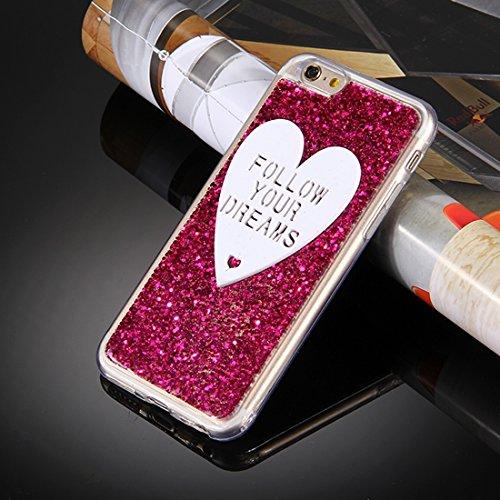 MXNET Fall für iPhone 6 u. 6s, Glitter-Puder Herz-geformte Wörter Muster weicher TPU schützender Fall ,Iphone 6/6s Case ( Color : Pink ) Red