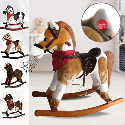 Infantastic Rocking Horse for Kids | with Sound Effects, Height 64 cm, Choice of Designs | Horse Toys, Pony Horse, Wooden Horse, Cowboy Horse, Soft Toys, Wooden Toys - Pinto