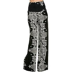 Hibote Pantalones Mujer Pantalones Bootcut cómodos Pantalones Acampanados de Cintura Alta Estampado de Flores Pantalones Casuales Desgaste Festivo de la Tarde Partywear