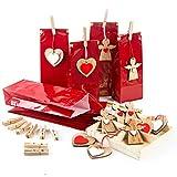 Logbuch-Verlag 12 Weihnachtstüten rot mit Weihnachtsanhängern Engel Herz - Geschenkverpackung...