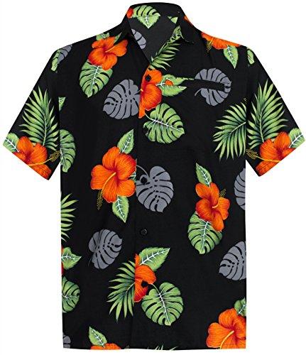*La Leela* Tropicale Regolare Camicia Hawaiana Casuale in Forma per Gli Uomini Neri 1889 445 5XL