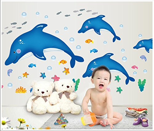 UberLyfe Blue Dolphins Wall Sticker Size 4 (Wall Covering Area: 80cm x 162cm) - WS-000449