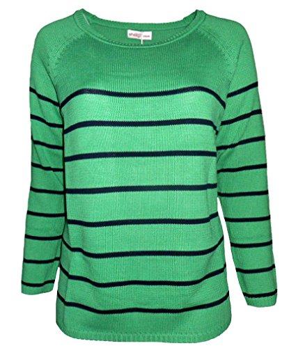 SHEEGO Damen Pullover Strickpullover grün Streifen Übergrößen (48/50) (Streifen Grüne Pullover)