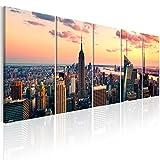 murando - Bilder New York 200x80 cm - Leinwandbilder - Fertig Aufgespannt - 5 Teilig - Wandbilder XXL - Kunstdrucke - Wandbild - Skyline NYC Stadt City d-B-0200-b-m
