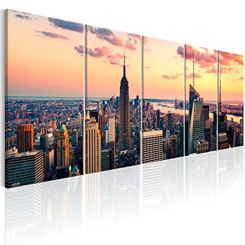 murando Bilder New York 200x80 cm - Leinwandbilder - Fertig Aufgespannt - 5 Teilig - Wandbilder XXL - Kunstdrucke - Wandbild - Skyline NYC Stadt City d-B-0200-b-m
