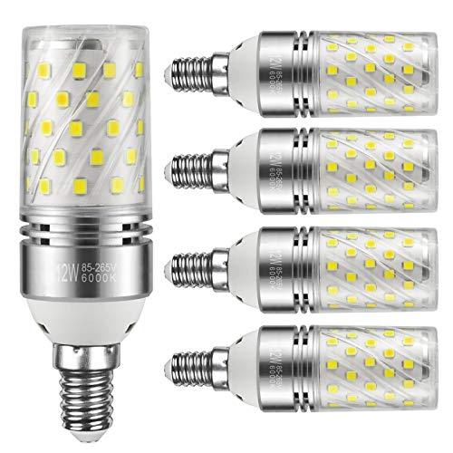Yiizon LED M Glühbirne, E14, 12W, entspricht 100 W Glühlampe, 6000 K Kaltweiß, 1200lm, CRI>80 +, kleine Edison-Schraube, nicht dimmbar Kandelaber LED Glühlampen(5 PCS)