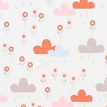 Tissu bio Copenhagen Print Factory blanc avec des petits nuages et des fleurs