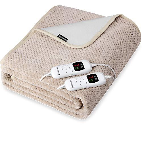 Wärmeunterbett Heizdecke 160x140 cm 3-lagig 7 Heizstufen Abschaltfunktion waschbar Double 2 Controller