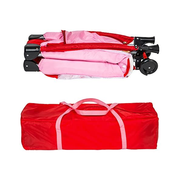 TecTake Baby Travel cot Bed playpan with Practical Carry Bag - Different Colours - (Pink | no. 402415) TecTake This wonderful travel cot is especially practical for holidays or spending the night with grandparents // Total dimensions (LxWxH): 126 x 65 x 80 cm // Weight: 8.7 kg. The high-quality, stable frame and mattress offer your little one a comfortable place to sleep on their travels. This practical travel cot can be set up almost anywhere in next to no time // Dimensions, collapsed (LxWxH): 78 x 28 x 25 cm. 6