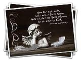 3 Stück Trauerkarte Kondolenzkarte Beileids-Karte ENGEL mit Spruch von Antoine de Exupéry MIT KUVERT - Trauer Tod Karte Kondolenz Doppelkarte Klappkarte mit Briefumschlag