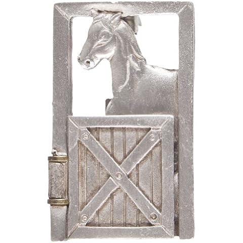 Mundo animal–Caballo en puerta abierta metal pin plata