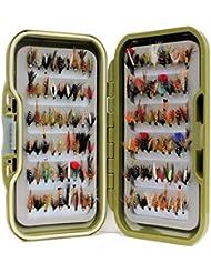 Vert étanche Fly Box Inc mixtes assorties humide Pêche à la Truite mouches–Taille de 8, 10, 12, 14, 16ou 18, Lot de 10, 25, 50, 100