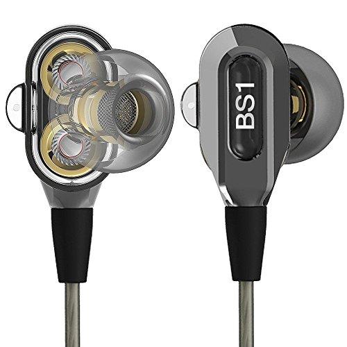 Kopfhörer, ActionPie Noise Isolating Ohrhörer Heavy Bass In Ear Headsets Sweatproof Wired Kopfhörer Dual Dynamic Treiber mit Mikrofon für iOS- und Android-Geräte usw mit 3.5mm Klinkenstecker