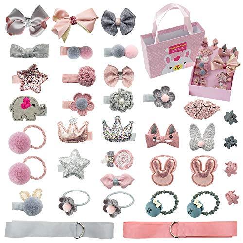 Comius Kinder Schleife und Haargummis Set, 36 Stücke Nette Baby Mädchen Kinder Haarbögen Haarclip für Kinder Geburtstagsgeschenk Kindertagsgeschenk ((Pink + Gray))