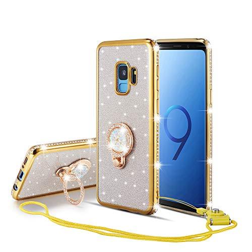 UEEBAI Hülle für Samsung Galaxy A70,Glitter Etui Eingelegten Diamond Soft TPU Handyhülle Drehbare Strass Ring 360 Grad Ständer Ultra Dünn Schutzhülle Mädchen Frauen Umhängeband - Gold - Finger-ring Lichter