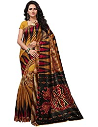Applecreation Women's Bhagalpuri Silk Saree with Unstitched Blouse Piece (Multi-Coloured_APHBUSP104_P)