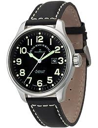 Zeno Watch Basel Pilot Oversized 8554-a1 - Reloj de caballero automático con correa de piel negra