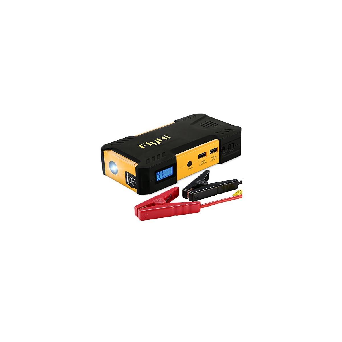 51OVzlQgVHL. SS1200  - FlyHi D12 Arrancador de Coche 800A 18000mAh Arranque de Batería para Coche (Motor de 6,5L Gas o el 5,2L Diesel) Banco de Energía Portable y Acelerador de batería con la Luz del LED y la Salida de USB