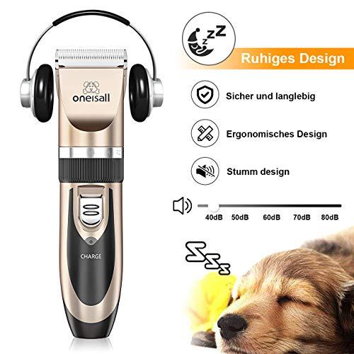 Oneisall Haustier Grooming Clipper Kits Geräuscharmer Haarschneidemaschine Hund und Katze wiederaufladbare drahtlose elektrische leise Tierhaarschneider - 5