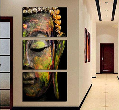 LA VIE 3 Teilig Wandbild Gemälde Buddha-Figur Hochwertiger Leinwand ...