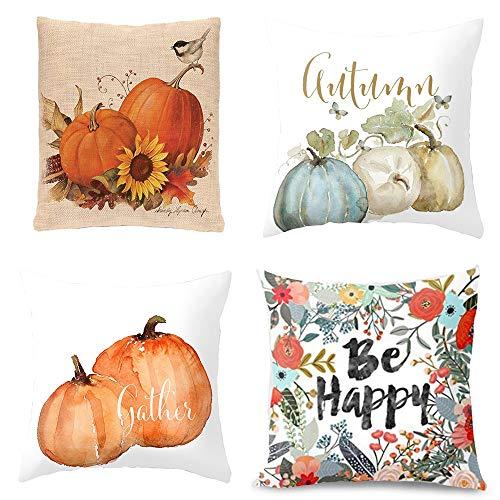 TAOtTAO 4 Fundas de Almohada para Halloween, Fundas de Almohada Decorativas para...