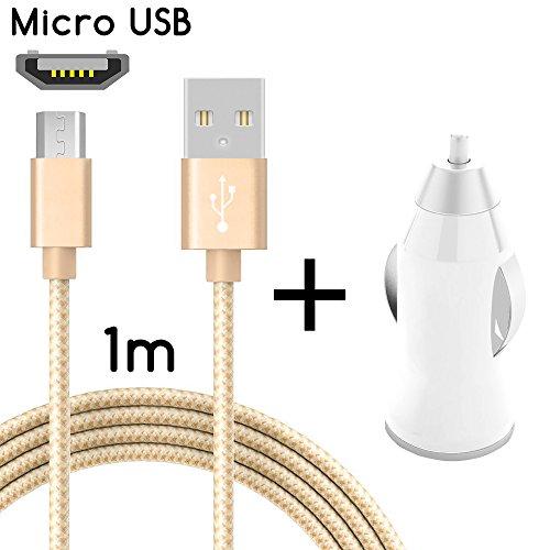TheSmartGuard Micro-USB Auto-Ladegerät / 2in1 KFZ-Ladeset / Micro-USB-Ladekabel mit KFZ-Stecker / Auto-Adapter für Android Smartphones, Samsung Galaxy S7 / S7 Edge / S6 / S5 / S4 / S3, Note 5 / 4 / 3, HTC, Huawei, Sony, Nexus, Nokia, Kindle und viele mehr | Nylon | Gold | 1 Meter / 1m