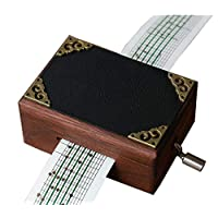 Cuzit Antique Vintage Wooden Mirror Music Box 15 Note movement Hand Crank DIY Musical Box Make Yr Own Song Include a Punch, 20 Blank Paper and 16 music Paper