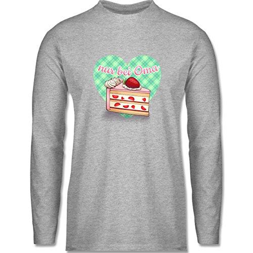 Shirtracer Statement Shirts - Nur Bei Oma - Kuchen - Herren Langarmshirt Grau Meliert