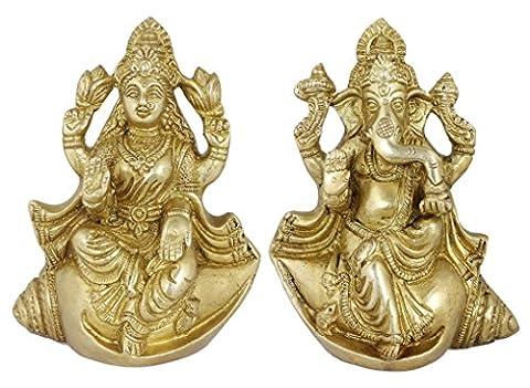 Diwali Weihnachtsgeschenk für Figur hochzeit gott ganesha und göttin lakshmi skulptur auf muschelschale messingstatue gesetzt