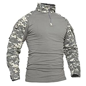 TACVASEN Military Style Men's Camo Combat Long Sleeve T-Shirt with Pockets