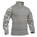 TACVASEN Winter Shirt Men Mountain Berg T-Shirt Herren Snow Schnee Hemd Lange Ärmel Tee Camo Shirts Camouflage Shirt ACU