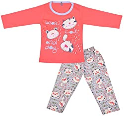 Kuchipoo Baby-Girls Top and Pyjama Set (KUC-NST-112_2-3 Years, Orange, 2-3 Years)