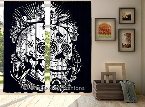indischen schwarz & weiß Totenkopf Skelett Baumwolle Vorhang Volants Fenster Aufhängen Tür Decor Raumteiler 2PC Vorhänge 213,4x (Totenkopf Dekor)