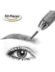 Pinkiou 50 Stück Edelstahl Permanent Make-up Tattoo Nadeln für 3D Microblading Augenbraue Tattoo Pen (5R)