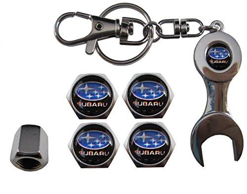 Valvulas de acero inoxidable para coche + llavero apreta tuercas Subaru aut011-15