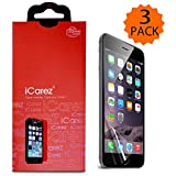 iPhone 6 / 6S plus inch Screen protector iCarez [HD Clear] Highest Quality Premium Highest Quality Premium High Definition Ultra Clear Anti Bacterial Anti Scratch Bubble free Reduce Fingerprint Screen Protector (PET Film Made in Japan) Easy install Green healthy Product with Lifetime Replacement Warranty (3 Pack)