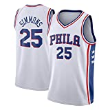 Canotte da Basket da Uomo NBA Phila 76ers 25# Simmons Maglia Estiva da Ricamo