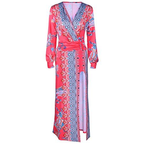 Frauen sexy V-Ausschnitt Halbarm Boho Druck mit hohen Taille Split Langen Rand-Kleid-Strand-Kleid C