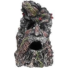 Nicepets – Adorno para decoración de acuario, pecera y terrario de resina con forma de planta en tronco de árbol con cara grabada
