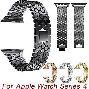 BZLine Armband | Luxus Fisch-Skala-Muster Edelstahl Uhrenarmband | Für Apple Watch Series 4 40mm/44mm | Schickes Design | Elegant und Komfortabel | Handgelenkgröße: 5,31-9,25 Zoll